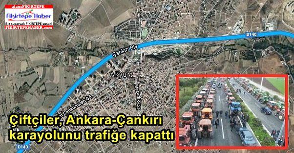 Çiftçiler, Ankara-Çankırı karayolunu trafiğe kapattı
