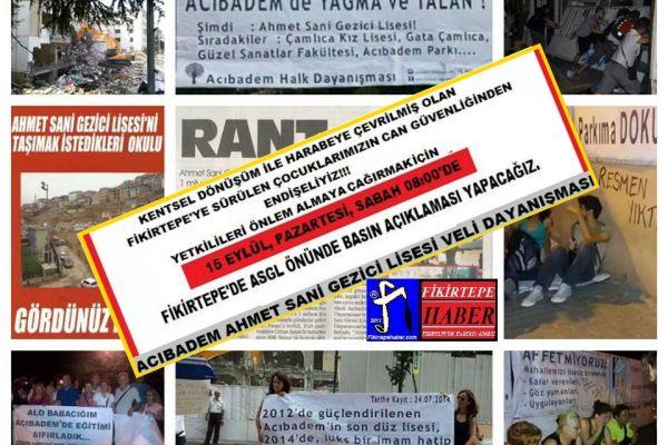 FİKİRTEPELİLERDEN ÖNCE ACIBADEMLİLERİN FİKİRTEPEDE OKUL EYLEMİ ..!