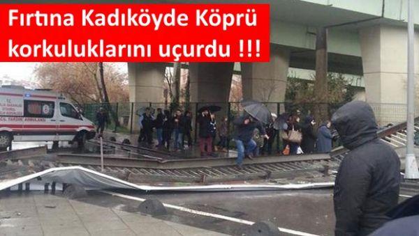 Kadıköy'de Lodosa Köprü korkulukları dayanmadı !!!
