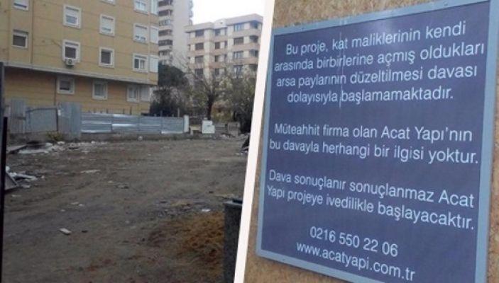 Kentsel Dönüşümde kat malikleri anlaşamayan inşaat için müteahhitten ilanlı duyuru