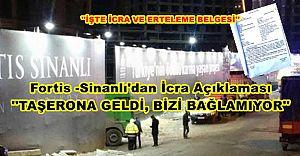 Fortis -Sinanlı Şantiyesinde, taşerona gelen icra ve belgeleri