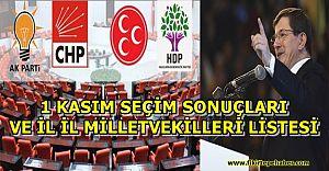 1 Kasım 2015 GENEL SEÇİM SONUÇLARI ''AK PARTİ TEK BAŞINA İKTİDAR''