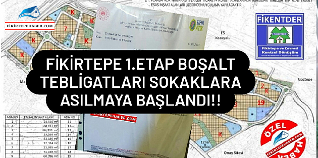 """FLAŞ FLAŞ  """"Bakanlık, Fikirtepe 1. Etap icin ilanen boşalt sürecini başlattı!"""""""